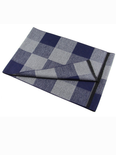 Men's Check Cashmere Scarf with Tassel Trim