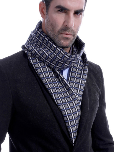 Faux Cashmere Checkered Long Scarf For Men