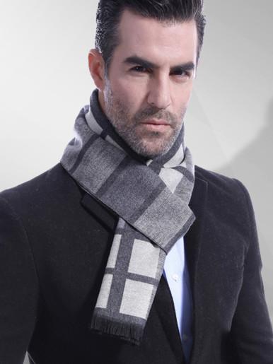 Check Print Wool Men Scarf