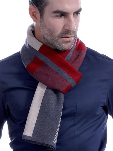 Mens Winter Warm Reversible Wool Scarf