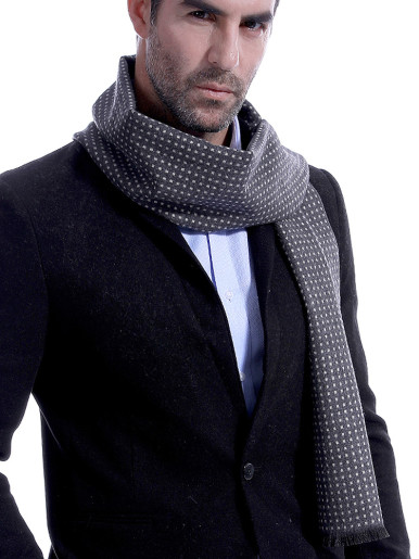 Dotted Cashmere Wool Men Scarf