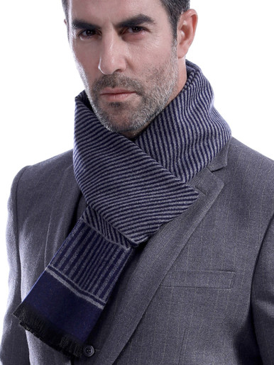 Border Stripe Cashmere Wool Mens Scarf
