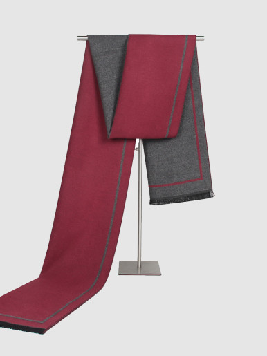 Men Soft Warm Long Scarf In Colour Block