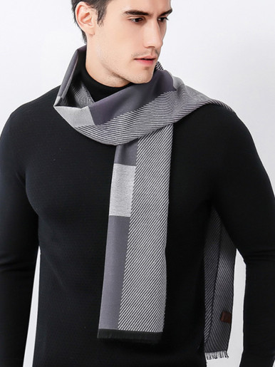 Gents Cashmere Scarf with Texture