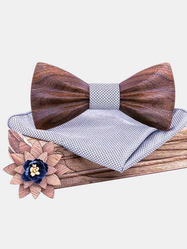 Wooden Bow Tie Floral Bowtie for Men