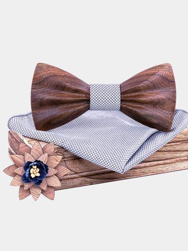 Wooden Bow Tie Floral Bowtie for Men