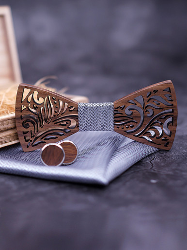 Wooden Bow Tie set and Handkerchief Gift for Men