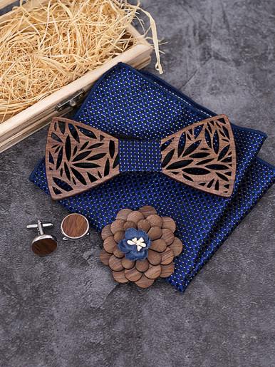 Paisley Wooden Bow Tie Handkerchief Set Men