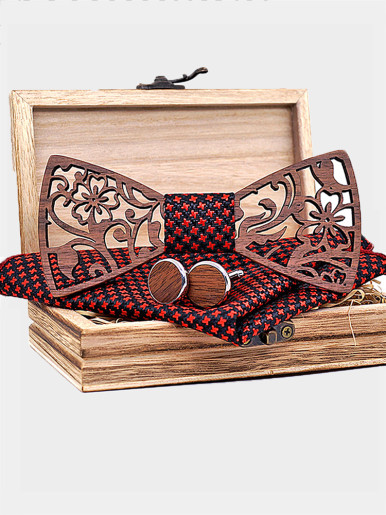 Men Handkerchief Cufflinks Wooden Bowtie Set