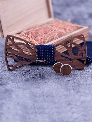 Handkerchief Cufflinks Carve Wooden Bowtie Set for Men