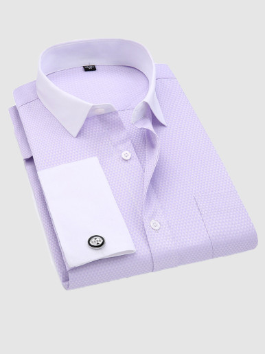 Gentleman Jacquard Shirt with Cufflinks and Contrast Collar