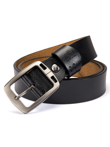 Men's Casual Leather Jeans Belts with Alloy Prong Buckle