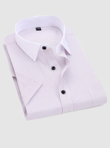 Summer Men Stripe Shirt with Contrast Collar