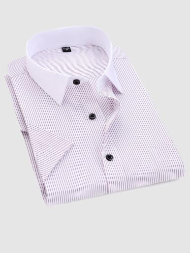 Summer Men Stripe Shirt with Contrast Collar