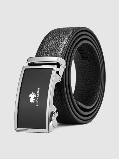 Men's Leather Ratchet Belt with Alloy Plaque Buckle