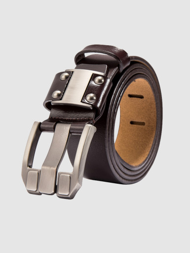 Quality Wide Prong Buckle Cowhide Leather Dress Belt For Men