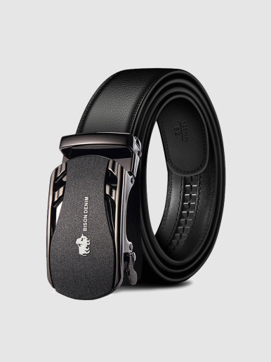 Stitched Business Dress Men Leather Automatic Buckle Ratchet Belt