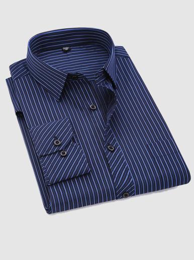 Plus Size Classic Striped Mens Social Dress Shirt