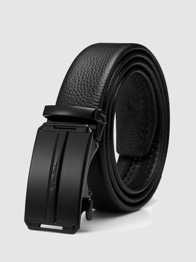 Men's Leather Ratchet Belt with Slide Click Buckle