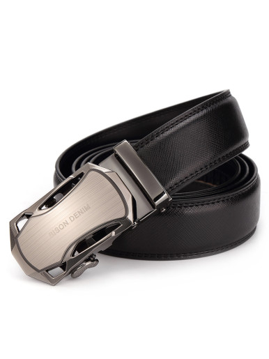Men's Stitched Leather Automatic Buckle Belt