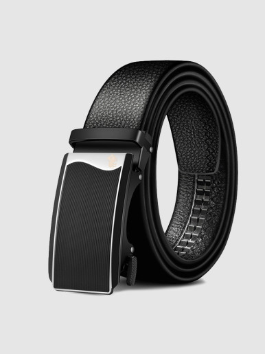 Men's Leather Ratchet Belt with Stripe Plaque Buckle