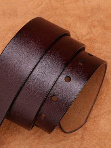 Men Genuine Leather Dress Belt with Single Prong Buckle