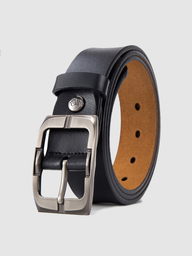 Men's Genuine Leather Dress Belt with Rotated Buckle