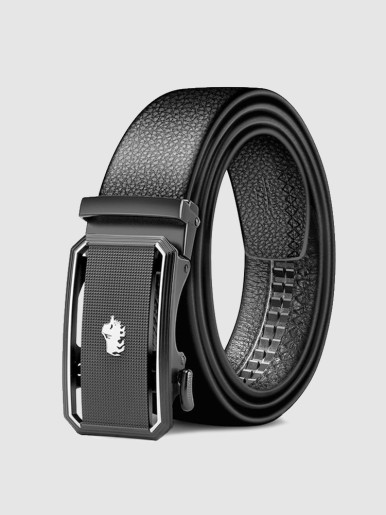 Plaque Automatic Sliding Buckle Men's Leather Belt