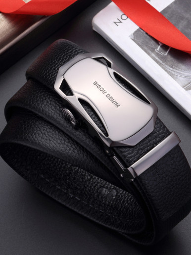 Men's Genuine Leather Ratchet Belt with Plaque Automatic Buckle