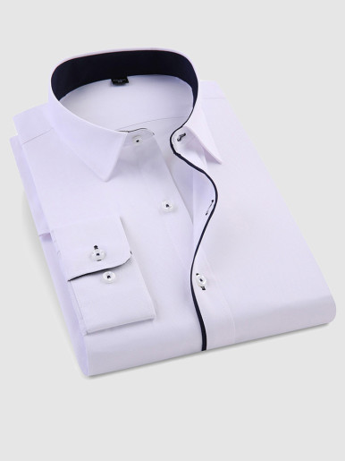 Smart Casual Men's Long Sleeve Shirt with Contrast Piping