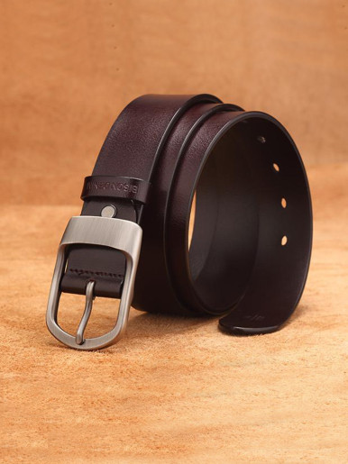 Men's Casual Leather Belt with Silver Prong Buckle