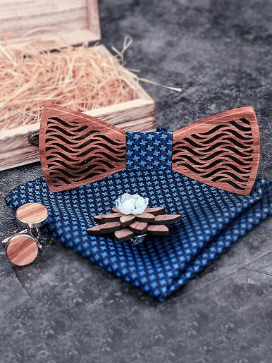 Men Handkerchief Cufflinks Wood Bowtie Set with Gift Box
