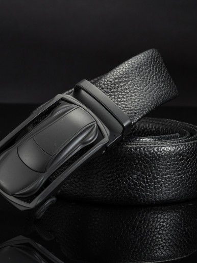 Men Dress Leather Belt with Car Shape Automatic Buckle