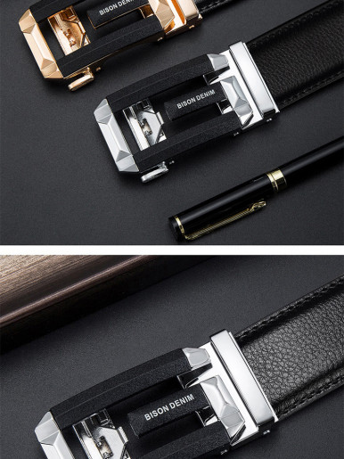 Silver Automatic Buckle Mens Leather Belt