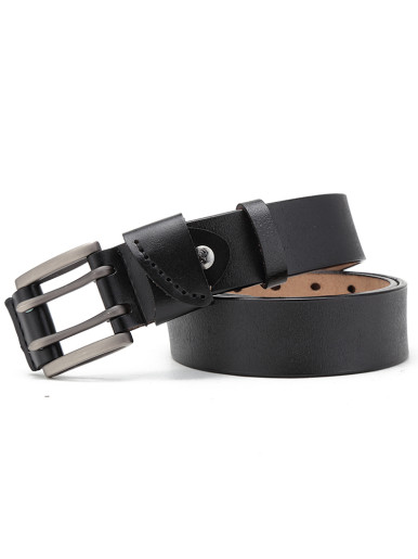 Heavy Duty Wide Strap Men's Leather Work Belt with Double Prong Buckle