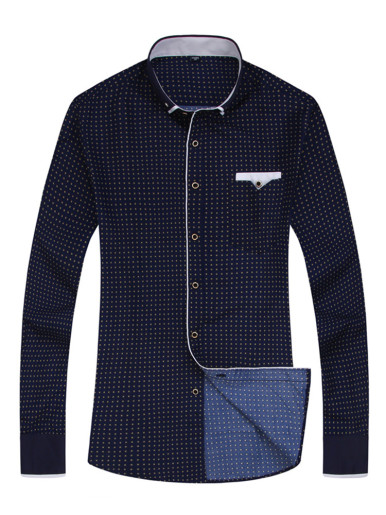 Printed Men Casual Shirt with Contrast Piping