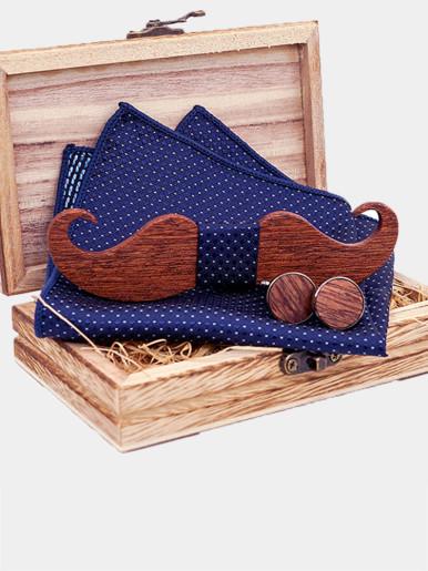 Mustache Wood Bowtie Handkerchief Cufflinks Sets for Men