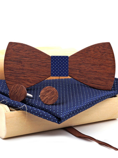 Solid Color Wooden Party Bow Ties For Men