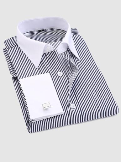 Men Long Sleeve Striped Dress Shirt with Cufflinks