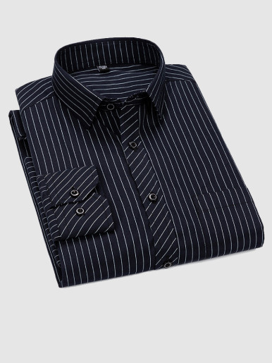 Business Casual Stripe Men Shirt