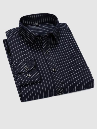 Business Casual Stripe Men Shirt