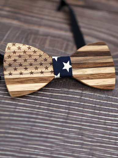 USA Flag Pattern Walnut Wooden Bow Ties For Men