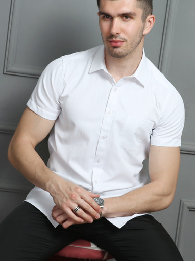 Fitted Short Sleeve Men Casual Shirt