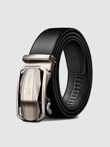 Men's Leather Plaque Buckle Belt