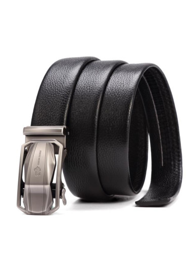Men's Leather Plaque Buckle Belt