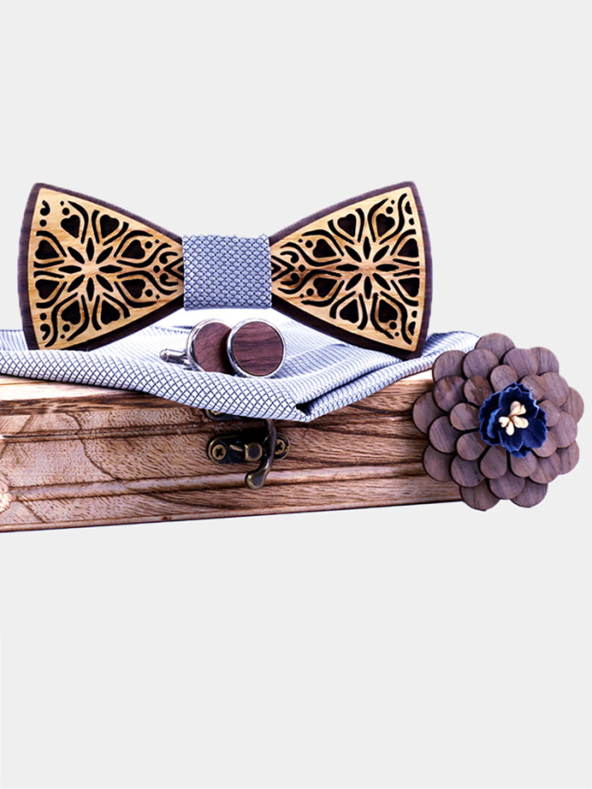 Floral Print Wooden Bowtie Sets for Men