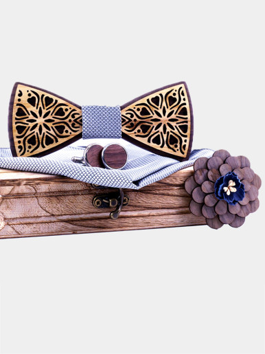 Floral Print Wooden Bowtie Sets for Men