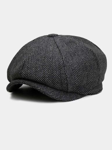 Vintage Men's Herringbone Berets Hat Flat Cap