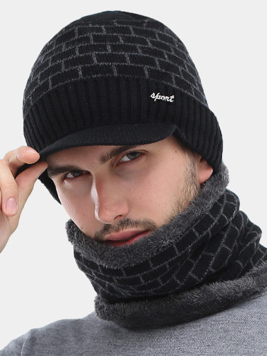 Winter Men's Knit Visor Beanie Hat and Neck Gaiter Set