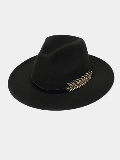 Men / Women Felt Fedora Hat with Remove Studded Belt